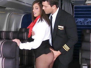 Ass, Black, Brunette, Babe, Black ass, Heels, Natural, Stockings, Small tits, Tits, Uniform