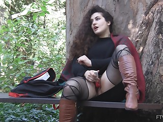 Outdoor solo be undergoing masturbation opportunity with curly haired Lili