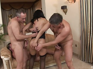 MILF gloominess in lingerie Holly West gets two facials in a threesome